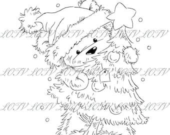 Lili of the Valley Digi Stamp - CG - James Christmas Tree, JPEG, Christmas, Xmas, Noel, Festive, Snow, Digital