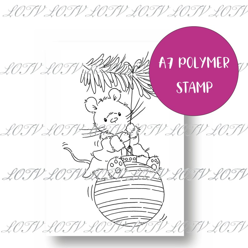 LOTV Polymer Stamp  IH  Christmouse Bauble image 0