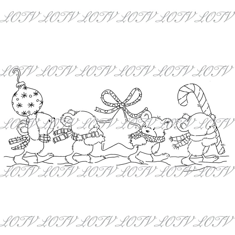 Lili of the Valley Digi Stamp  GC  Christmouse Decorations image 0
