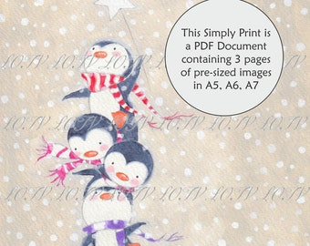 LOTV Full Colour Simply Print - AS - Pile of Penguins, 3 Page PDF, Digital