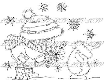 Lili of the Valley Digi Stamp - GC - A Little Gift, JPEG, Christmas, Xmas, Noel, Festive, Snow, Digital