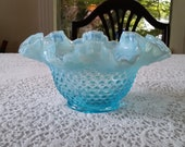 Fenton Hobnail Blue Opalescent Crimped Bowl