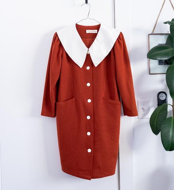 Yang Lan 1960s style button up wool dress, oversiz