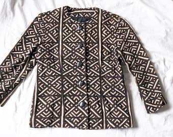 Beautiful button-up jacket made from Mud-cloth inspired fabric 1990's Neutral