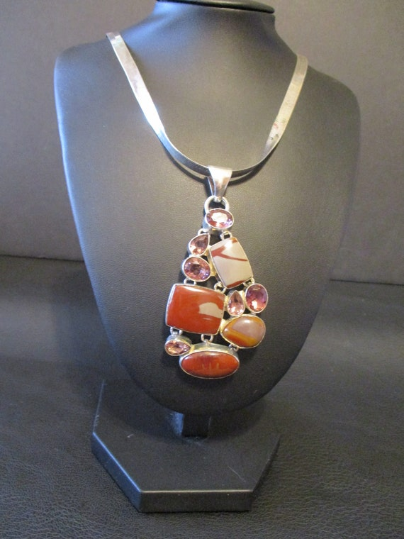a statement piece. Mookaite Pendant in oval Sterling Silver setting
