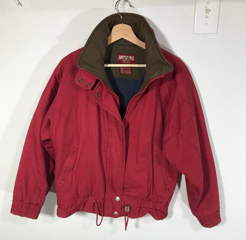 0011e601e Vintage American Eagle Cotton Insulated Bomber Jacket Red - Medium
