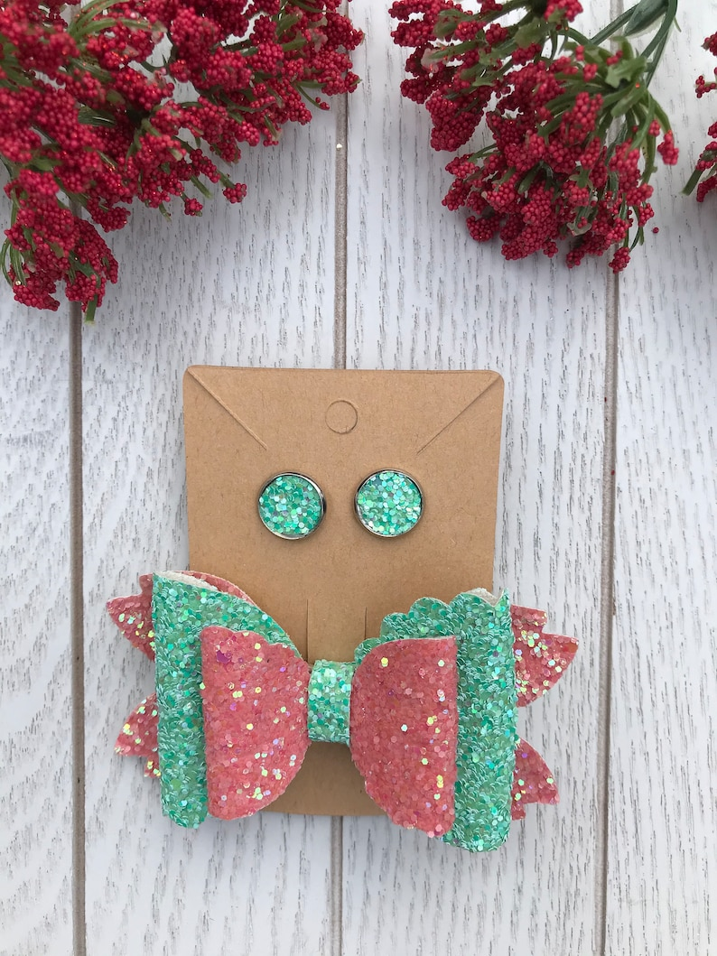 Coral and Mint 3.5\u201d Bow and Stud Earring Set
