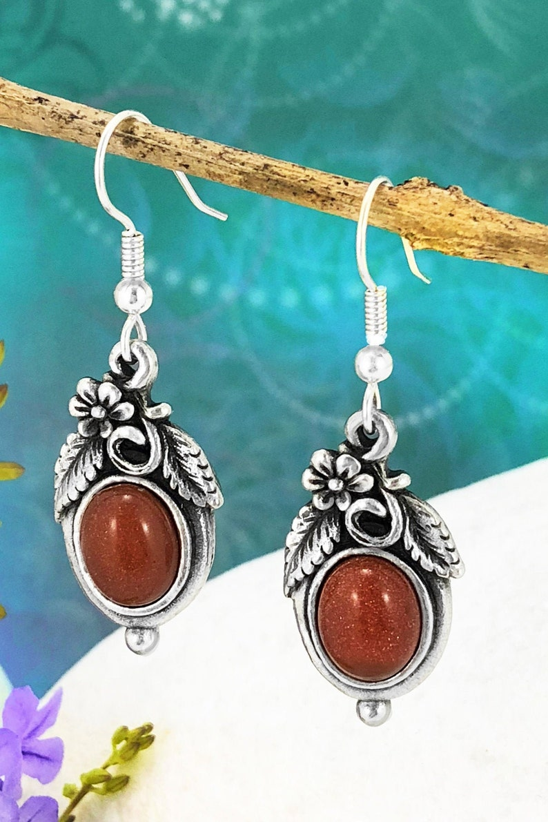 Gift for Her Dangle /& Drop Earrings Goldstone Nature Style Earrings