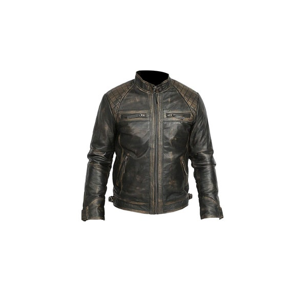 Mens Brown Biker Retro Vintage Motorcycle Racer Danger Bone Leather Jacket