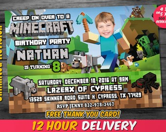 Minecraft birthday invitation etsy mine theme invitation with custom face and free thank you card mine theme birthday invitation birthday invitation filmwisefo