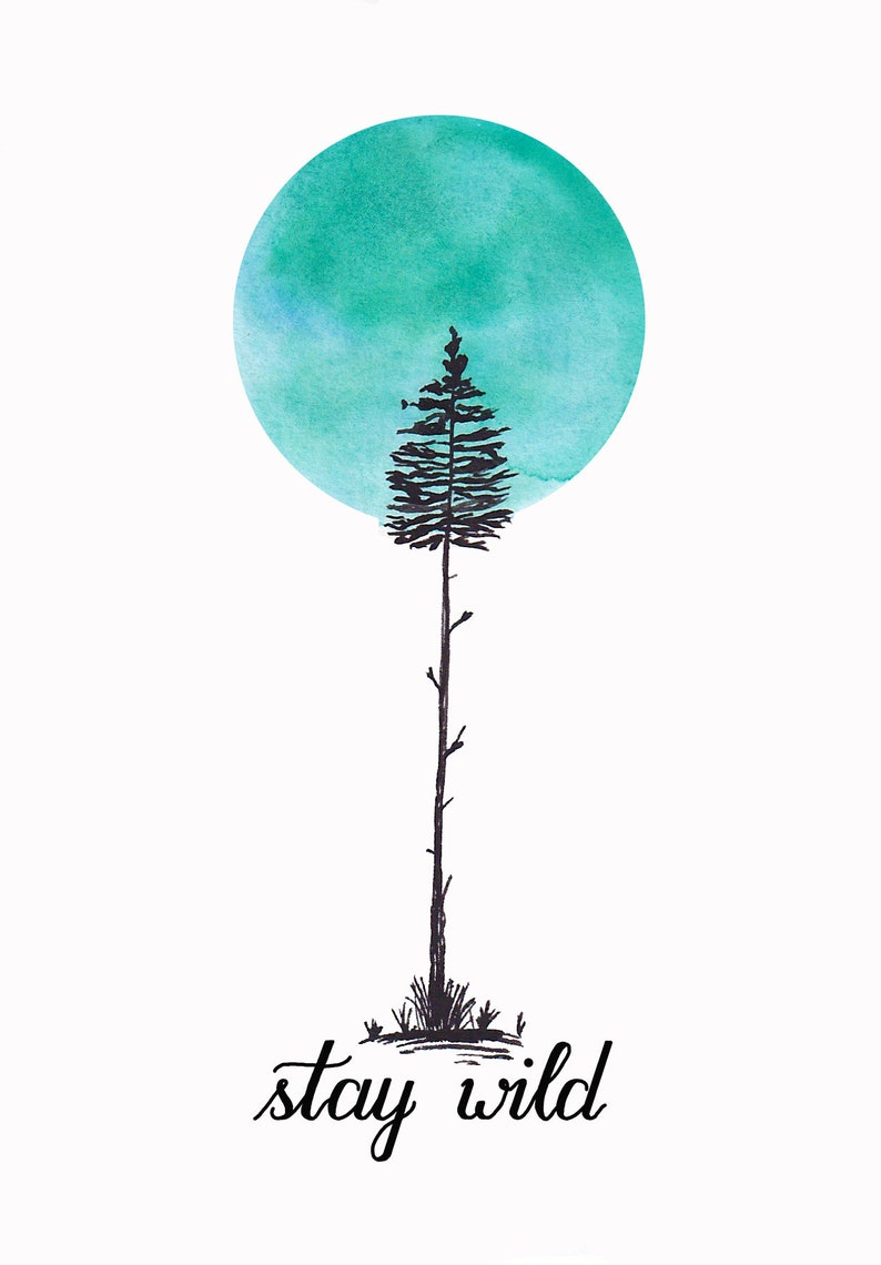 Postcard stay wild with tree and moon