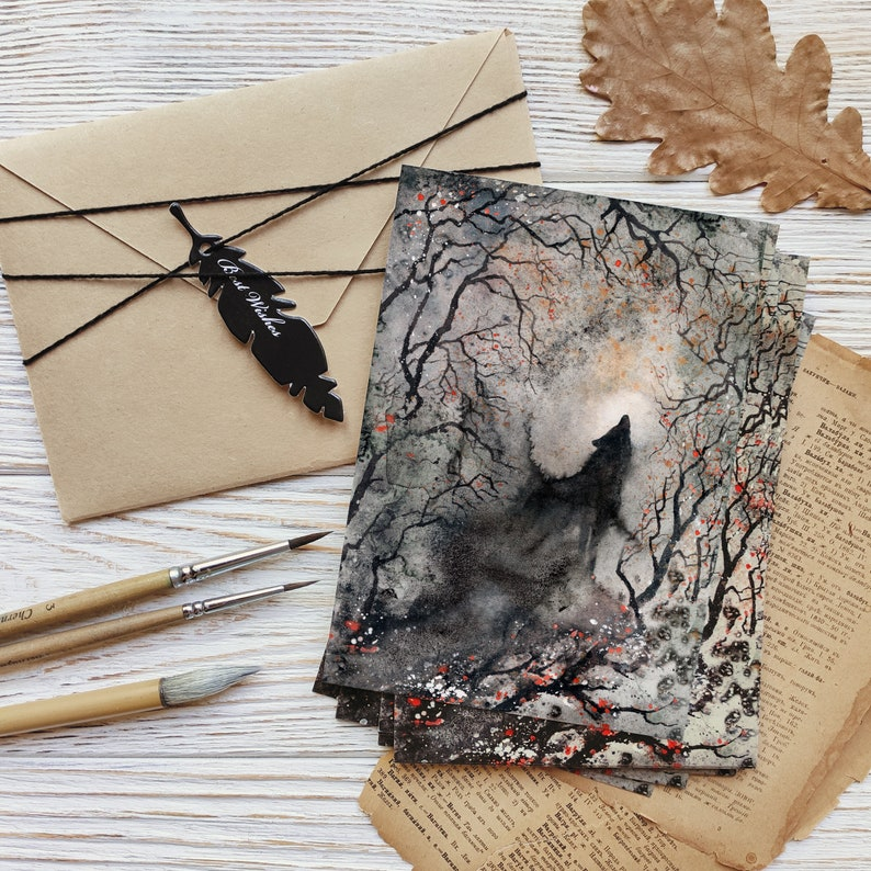Free Shipping Wall Art Dark Woodland home decor Wolf postcards Black Animals A6 ART PRINTS Set of 3 Gothic Forest Greeting cards Raven