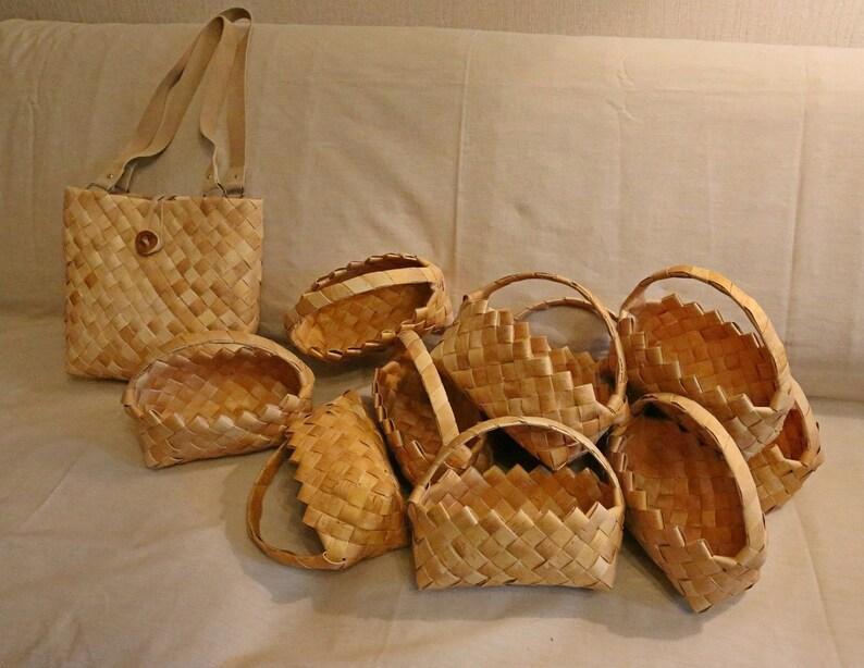 10 small baskets of birch bark and 1 big bag! Set