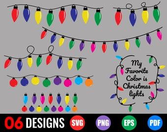 Christmas Lights Svg  Commercial Use  String Lights  Lights Bundle  Bulbs  Christmas Clip Art  Cricut  Silhouette  Svg Png Dxf
