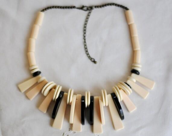 Ebony and Ivory Galalith choker, necklace.  French