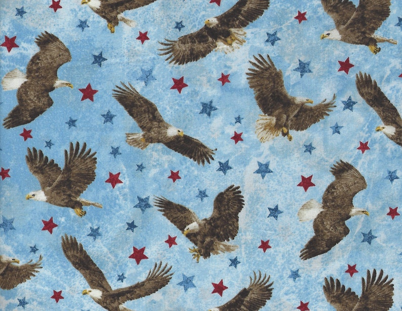 Eagle Sky Blue Stars /& Stripes Stonehenge Quilt Fabric  by the 1//2 yard