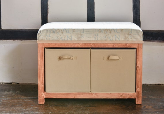 Wooden Storage Bench With Cushion Modern Style Handmade Etsy