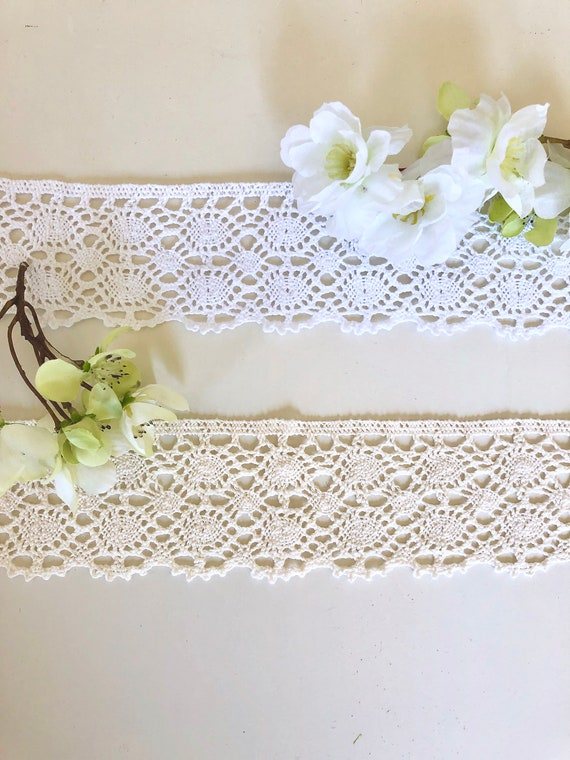 3m Vintage style Cotton crochet lace edge trim IVORY//CREAM  Ribbon Crafts