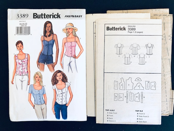 Butterick loose fitting top pattern B6246 Sleeve variation pull over Uncut