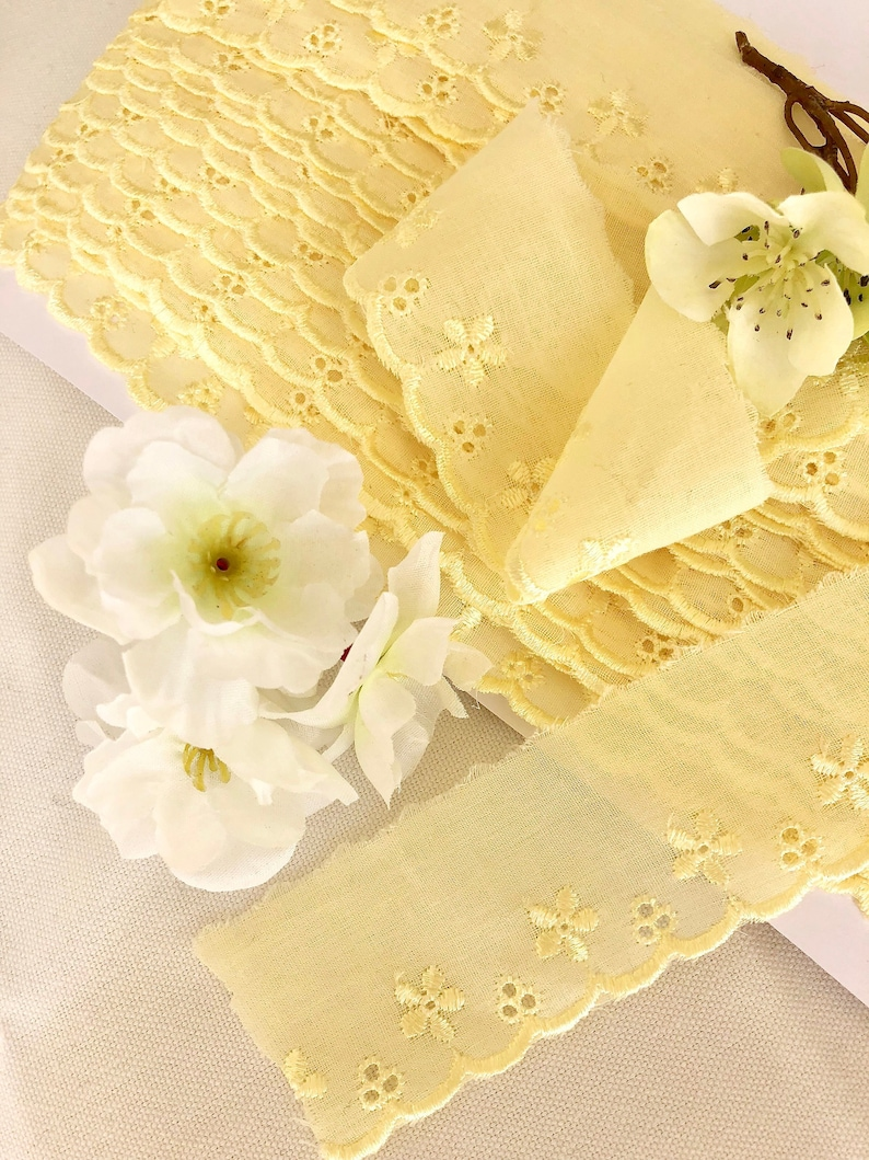 """Bows Ribbon and Lace~1/""""//2.5cm White Cotton Broderie Anglaise Lace Trimming"""