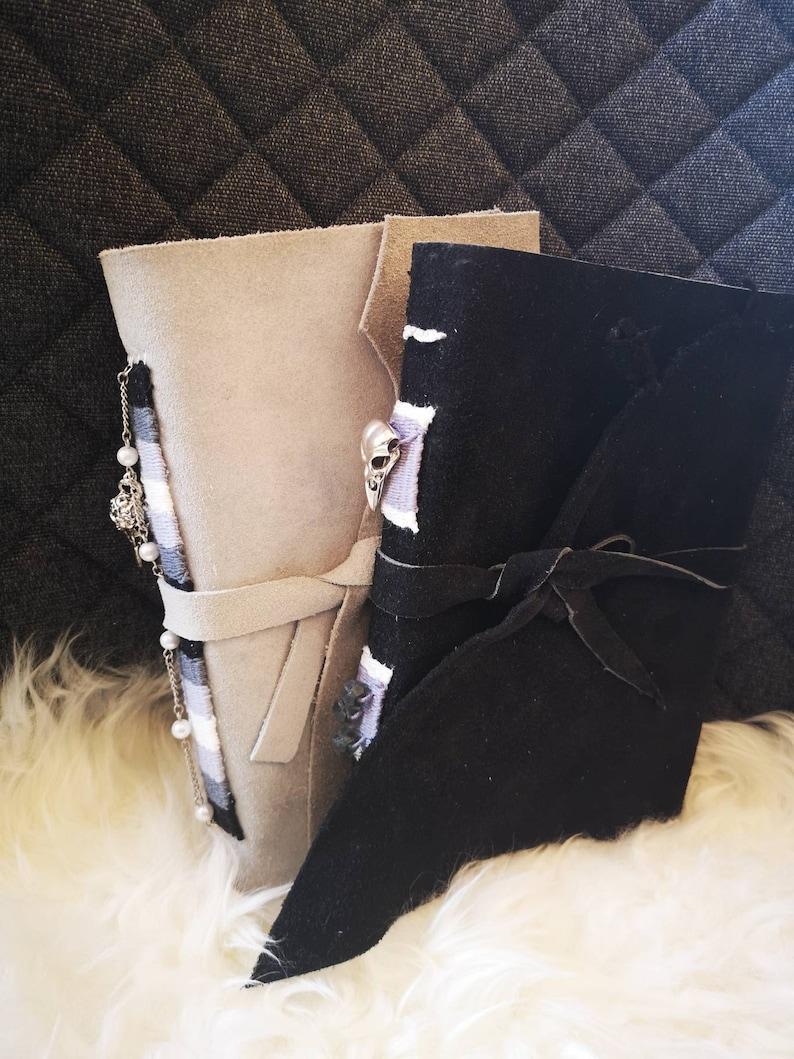 A5 black grey gothic leather clad sketchbook drawing folder image 0