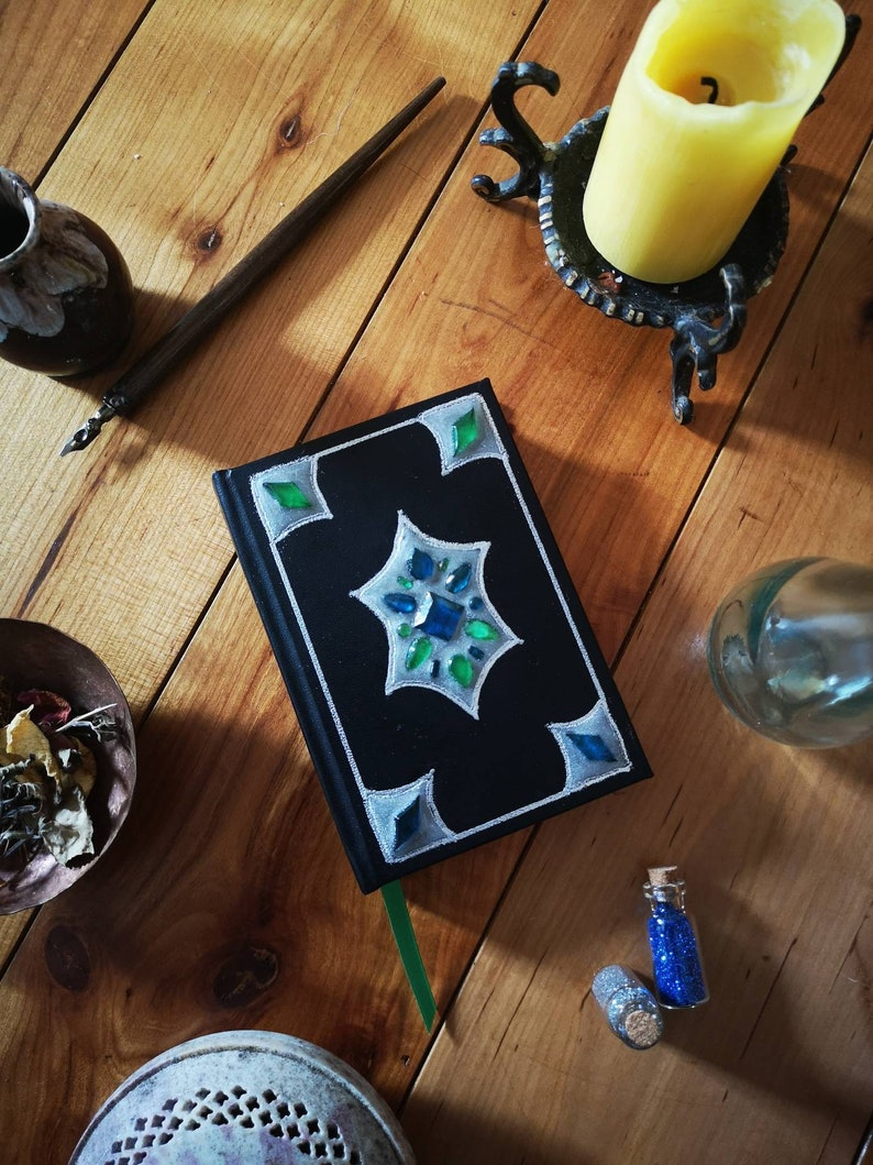 Glow A6 Notebook with Crystals Black Leather Journal Magic image 0