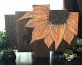 Hand Painted Sunflower Wood Sign