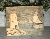 Lighthouse and Boat Painted Stained Wood Sign