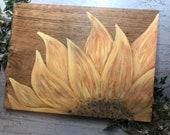Orange Painted Sunflower Wood Sign
