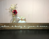 Family Names with Hearts Wood Sign Hand Painted