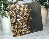 Painted Gray Stained Sunflower Wood Sign