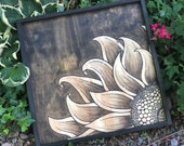 Brown Hand Painted Sunflower Stained Wood Framed Sign