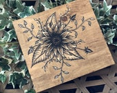 Hand Painted Flowers Wood Wall Art