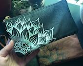 Sunflower Faux Leather Purse/ Wristlet/ Clutch