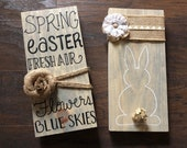 Spring Easter Bunny Wood Sign