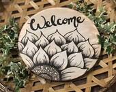 Welcome/ Door Hanging/ Round/ Sunflower/ Wood Sign