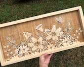 Painted Wildflowers, Bees, Butterflies Framed Wood Sign