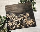 Black Eyed Susan Flower Drawing Painted Wood Sign
