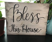 Bless this House/ distressed/ wood sign/ home decor