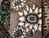 Hand Painted/ Sunflower Art/ Stained Wood/ Home Decor Sign