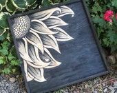 Black Hand Painted Sunflower Stained Art Wood Framed Sign