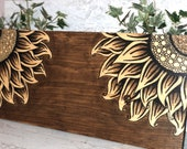 Double Rustic Sunflower Wood Sign Wall Decor