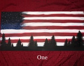 American Flag Hand Painted Wood Sign