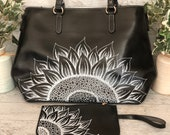 Black and White Painted Sunflower Faux Leather Purse and Wristlet
