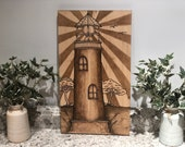 Lighthouse Stained Wood Art Sign