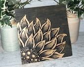 Gray Hand Painted Sunflower Stained Sign