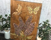 Painted Lilacs and Butterflies Wood Sign Art