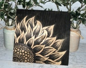 Black Stained Sunflower Wood Sign Decor