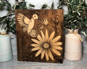 Hummingbird and Flower Stain Art Wood Sign