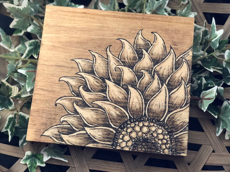 Rustic Sunflower Wall Art Wood Sign image 0